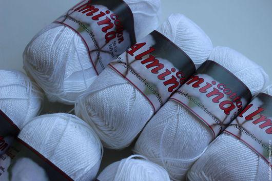 Вязание ручной работы. Ярмарка Мастеров - ручная работа. Купить Хлопок мерсеризованный Almina. Handmade. Белый, хлопок