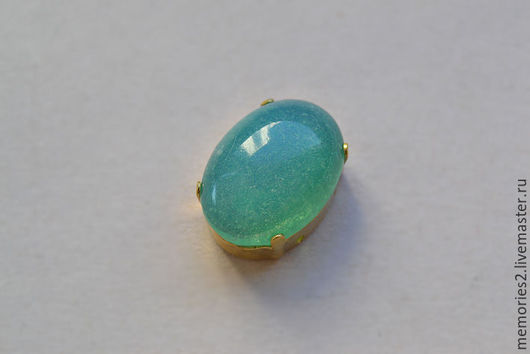 Для украшений ручной работы. Ярмарка Мастеров - ручная работа. Купить Винтажные стразы 18х13 мм цвет Green opal. Handmade.