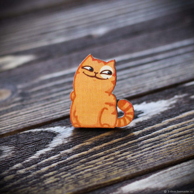 Wooden icon cat Peach, Badge, Volzhsky,  Фото №1