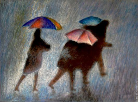 Город ручной работы. Ярмарка Мастеров - ручная работа. Купить Дождь. Handmade. Дождь, пастель
