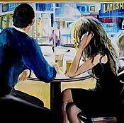 Картины и панно ручной работы. Ярмарка Мастеров - ручная работа картина маслом В кафе. Handmade.