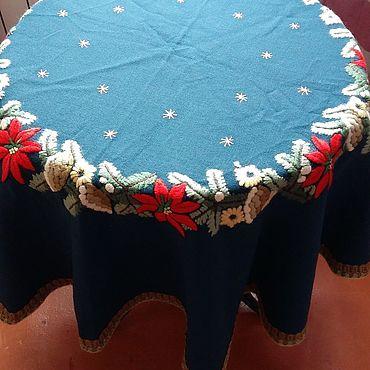 Винтаж ручной работы. Ярмарка Мастеров - ручная работа Винтажная круглая скатерть с изумрудным оттенком. Handmade.