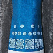 """Одежда ручной работы. Ярмарка Мастеров - ручная работа Платье """"Кельтский орнамент"""" из льна с ручной верховой набойкой. Handmade."""
