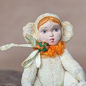 Куклы и игрушки ручной работы. Ярмарка Мастеров - ручная работа Тедди-долл Обезьянка Поллианна 14 см обезьяна винтажный силь. Handmade.