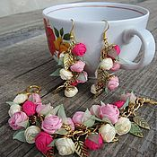 Украшения handmade. Livemaster - original item First date. Jewelry set. FABRIC FLOWERS.. Handmade.