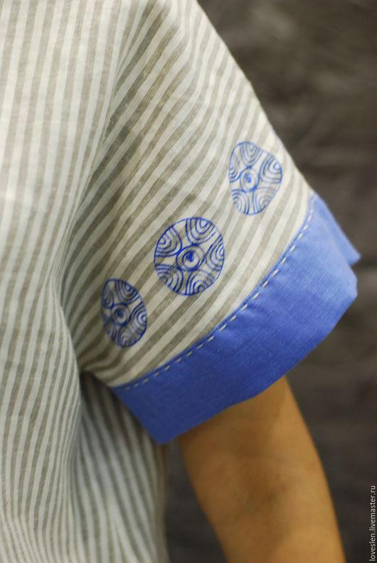 Блузки ручной работы. Ярмарка Мастеров - ручная работа. Купить Блузка из льна с набойкой. Handmade. Комбинированный, одежда из льна