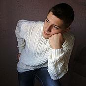 Одежда ручной работы. Ярмарка Мастеров - ручная работа Белый мужской пуловер. Handmade.