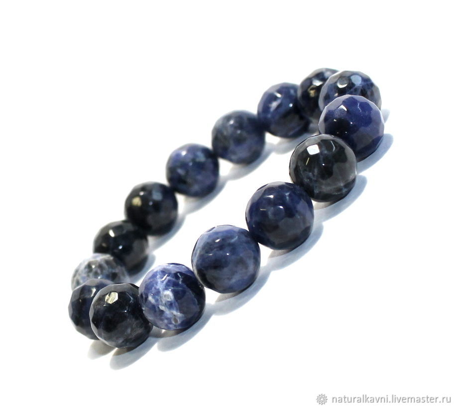 Bracelet made of natural sodalite with cut, Bead bracelet, Moscow,  Фото №1