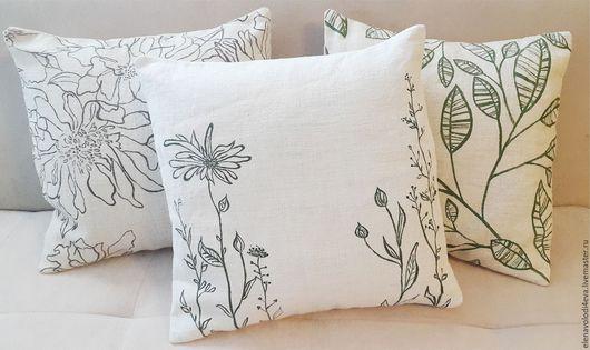 Текстиль, ковры ручной работы. Ярмарка Мастеров - ручная работа. Купить льняные подушки с росписью. Handmade. Бежевый, подушка с принтом