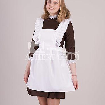Товары для малышей ручной работы. Ярмарка Мастеров - ручная работа Комплект платья с фартуком, 14-423к (коричневое платье, белый фартук). Handmade.