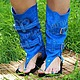 sandal-boot in suede bright blue