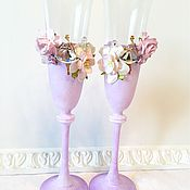 Свадебный салон ручной работы. Ярмарка Мастеров - ручная работа Свадебные бокалы Lavender. Handmade.
