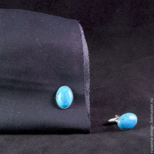 Запонки ручной работы. Ярмарка Мастеров - ручная работа. Купить Мужские запонки с бирюзой. Handmade. Бирюзовый, голубой, овальная форма