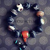 Четки браслет из тибетского агата. Природные Дзи.