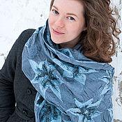 Аксессуары ручной работы. Ярмарка Мастеров - ручная работа Воздушный шёлковый шарф с войлочными Лилиями. Handmade.
