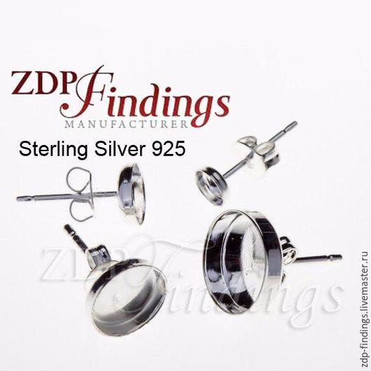 Для украшений ручной работы. Ярмарка Мастеров - ручная работа. Купить 9 размеров 3-7, 8, 10 и 12мм серебряные основы для пуссет 6100SHV. Handmade.