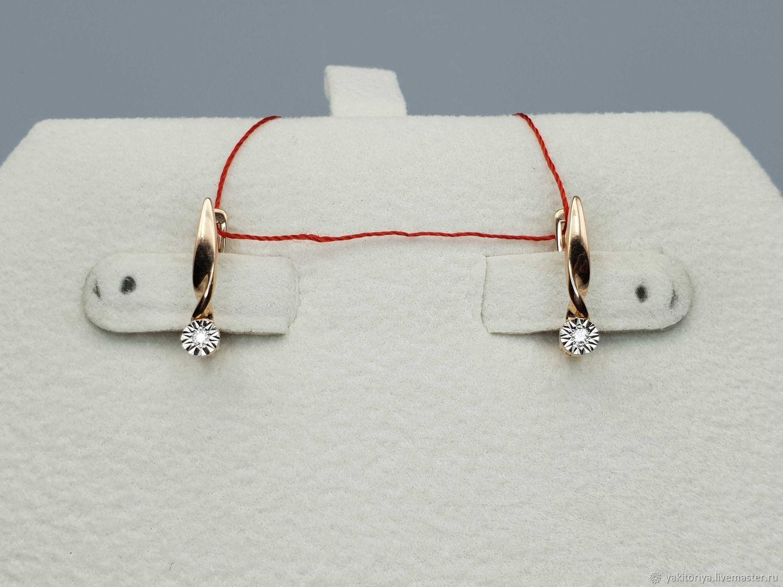 Gold diamond earrings 0,027 ct, Earrings, Moscow,  Фото №1