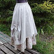 Одежда ручной работы. Ярмарка Мастеров - ручная работа №167.1 Льняная юбка в стиле бохо. Handmade.