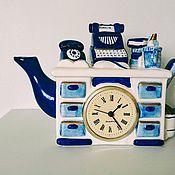 Vintage teapots handmade. Livemaster - original item Decorative teapot-clock. England.. Handmade.