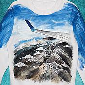 """Одежда ручной работы. Ярмарка Мастеров - ручная работа Толстовка свитшот """"Самолет и горы"""" ручная роспись. Handmade."""