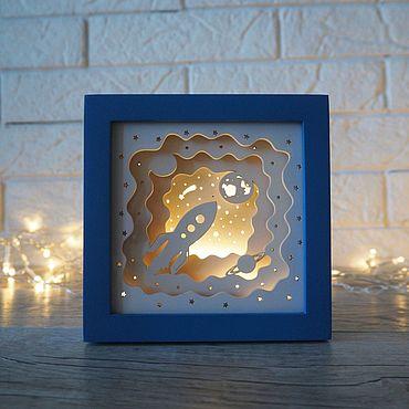 """Для дома и интерьера ручной работы. Ярмарка Мастеров - ручная работа Mini ночник """"Космос"""" frame синий. Handmade."""