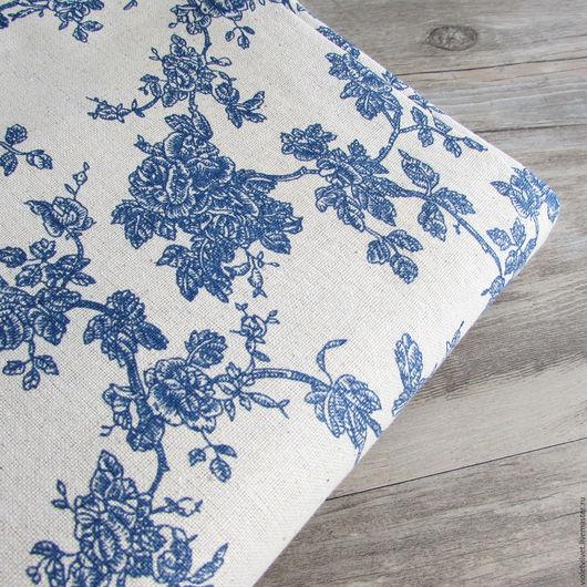 Ткань лен натуральный. Рисунок Японская Роза.