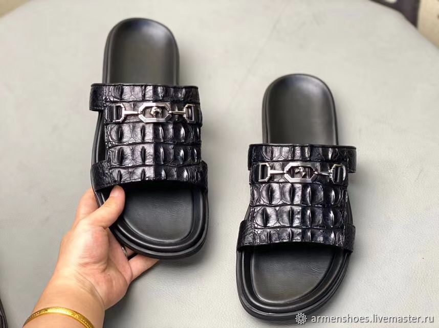 Men's Slippers made of embossed crocodile skin in black!, Slippers, Tosno,  Фото №1