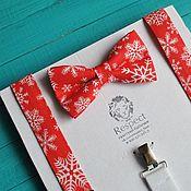 Аксессуары handmade. Livemaster - original item Set Christmas snowflakes / red bow tie, men`s suspenders. Handmade.