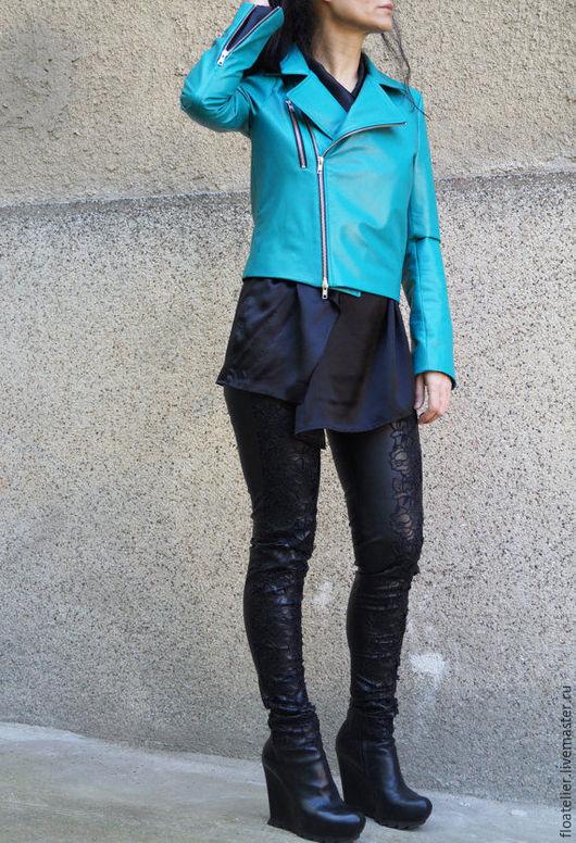 Верхняя одежда ручной работы. Ярмарка Мастеров - ручная работа. Купить Зеленая куртка из натуральной кожи/Короткая куртка/F1587. Handmade.