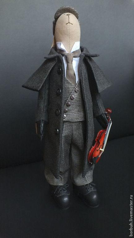 Куклы Тильды ручной работы. Ярмарка Мастеров - ручная работа. Купить Шерлок Холмс текстильный заяц (продан). Handmade. Коричневый
