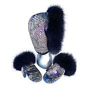 Аксессуары handmade. Livemaster - original item Set Snood and mittens with fur. Handmade.