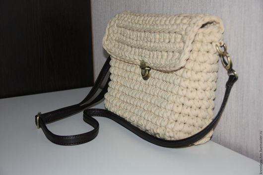 Женские сумки ручной работы. Ярмарка Мастеров - ручная работа. Купить Большая сумка на кожаном ремешке кроссбоди. Handmade. Бежевый