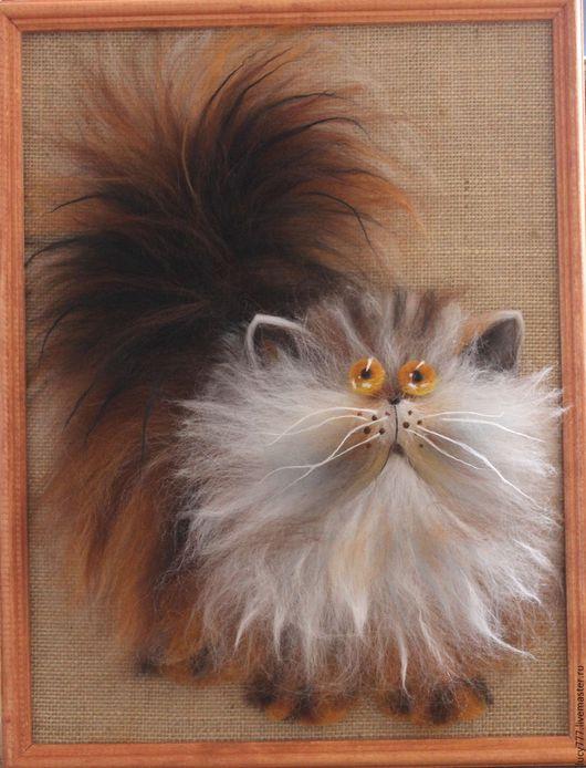 """Животные ручной работы. Ярмарка Мастеров - ручная работа. Купить картина """"Котофей"""". Handmade. Картина в подарок, картина из шерсти"""