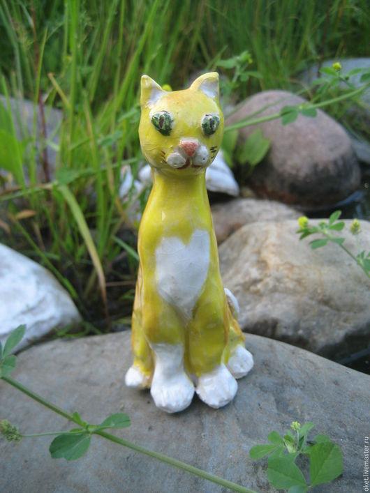 """Статуэтки ручной работы. Ярмарка Мастеров - ручная работа. Купить Статуэтка """"Кот жёлтый"""" керамическая. Handmade. Кот, статуэтки из керамики"""