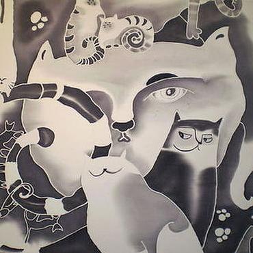 """Аксессуары ручной работы. Ярмарка Мастеров - ручная работа Котошарф """"Черно-белый как кино"""" (батик). Handmade."""