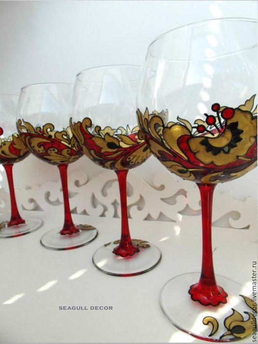 Бокалы, стаканы ручной работы. Ярмарка Мастеров - ручная работа. Купить Бокалы для вина с росписью Хохлома, 2 шт.. Handmade.