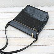 Сумки и аксессуары ручной работы. Ярмарка Мастеров - ручная работа Кожаная сумка черный планшет кроко. Handmade.