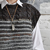 Одежда handmade. Livemaster - original item Wool Knitted Sleeveless Sweater Oversize Vest Gray Sleeveless Jumper. Handmade.
