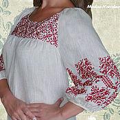 Одежда ручной работы. Ярмарка Мастеров - ручная работа Блуза женская БУРГУНДИ Стильные блузки из льна Вышиванки бохо стиль. Handmade.
