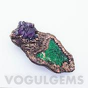 Украшения handmade. Livemaster - original item Copper brooch uvarovite and amethyst( galloplast, patination). Handmade.