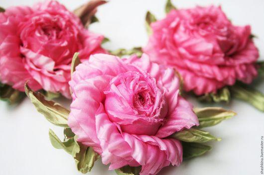 """Заколки ручной работы. Ярмарка Мастеров - ручная работа. Купить Брошь-заколка """"Rosy"""". Цветы из шелка. Цветочные заколки и броши.. Handmade."""