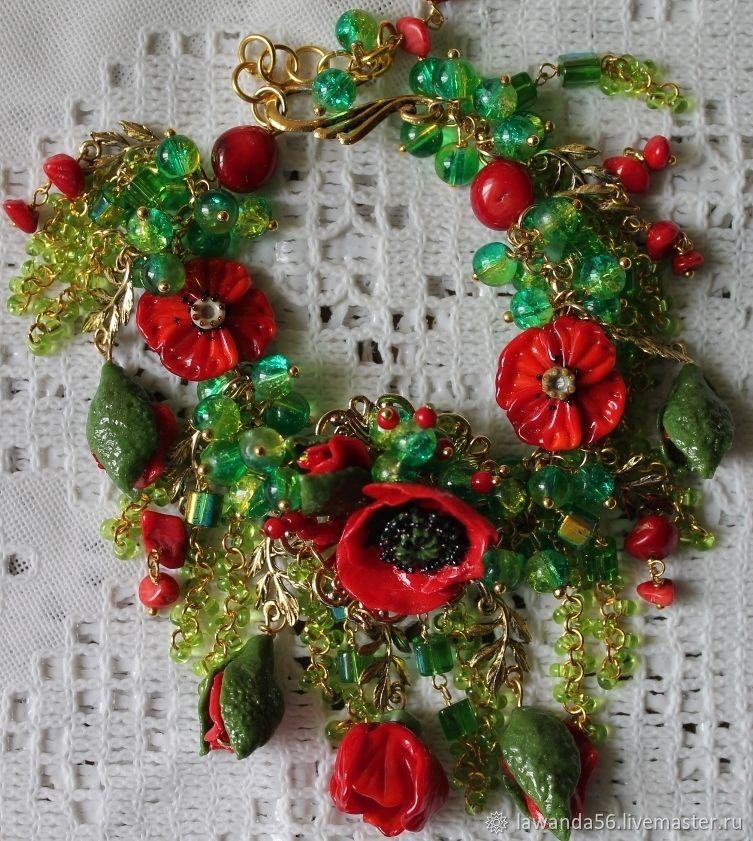 Bracelet lampwork poppy flowers, Bead bracelet, Krasnoyarsk,  Фото №1