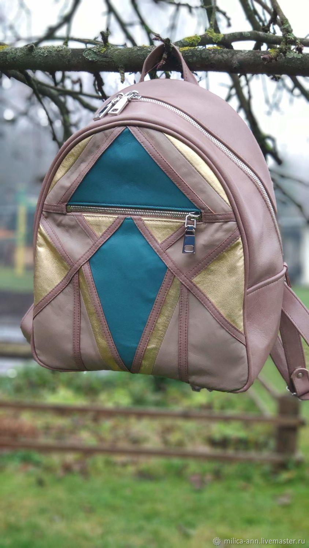 Рюкзак из натуральной кожи с аппликацией, Рюкзаки, Москва,  Фото №1