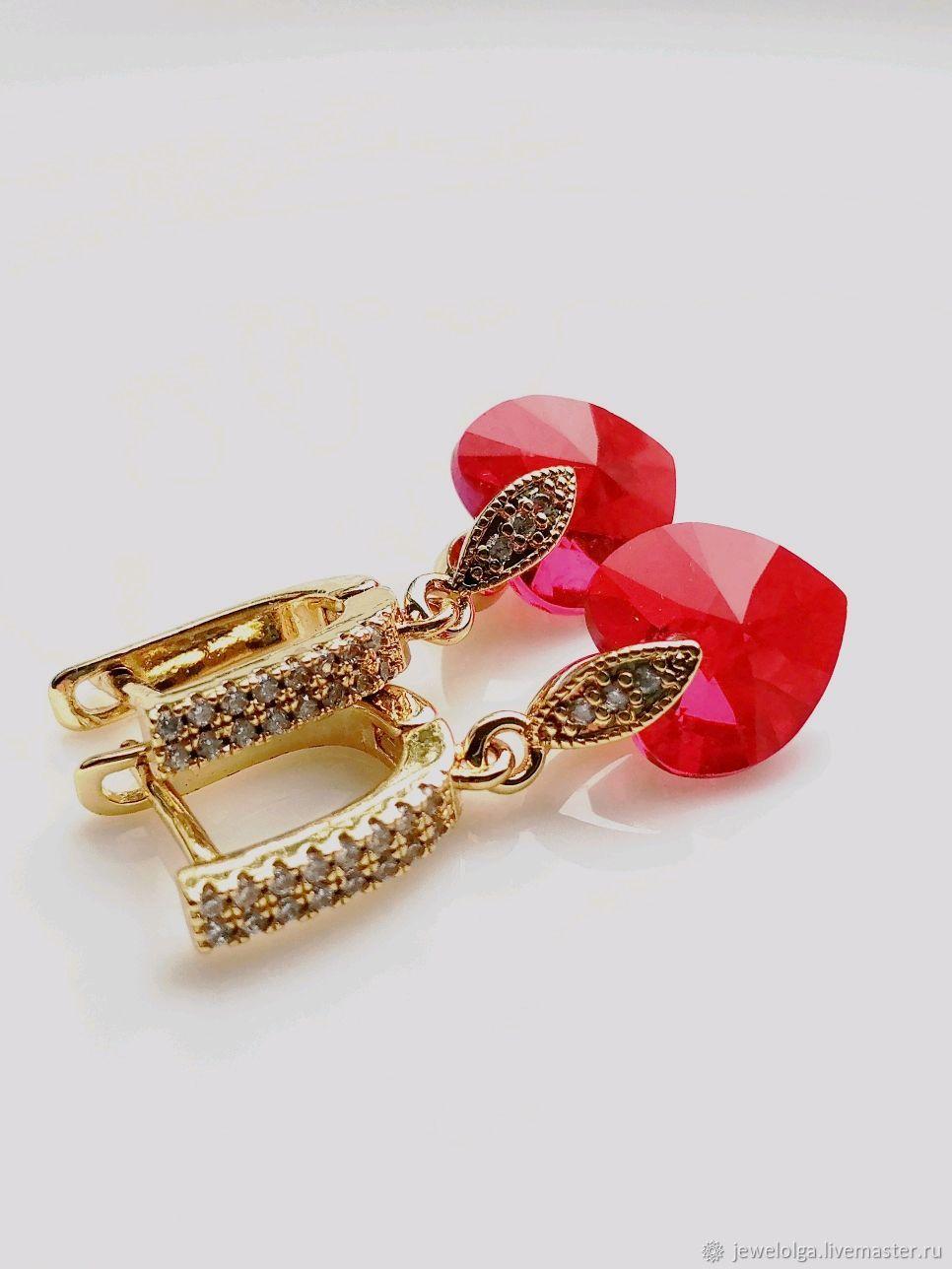 Red Heart Earrings. Gold earrings with Swarovski crystals, Earrings, Ekaterinburg,  Фото №1