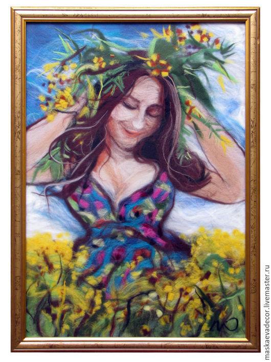 Люди, ручной работы. Ярмарка Мастеров - ручная работа. Купить Картина из шерсти, девушка, Весеннее настроение. Handmade. Разноцветный