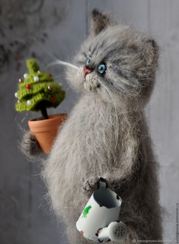 коты из мохера спицами с описанием как
