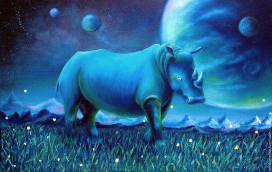 Фэнтези ручной работы. Ярмарка Мастеров - ручная работа. Купить Носорог. Handmade. Синий, планета, ночной пейзаж, фантазия