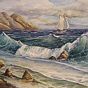 Картины ручной работы. Ярмарка Мастеров - ручная работа Акварель море. Handmade.
