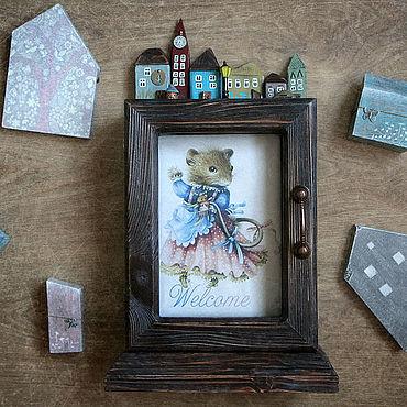 For home and interior handmade. Livemaster - original item The housekeeper table. Decoupage key holder. Handmade.