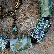 Украшения ручной работы. Ярмарка Мастеров - ручная работа колье из полимерной глины этно мокуме гане  6. Handmade.